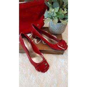 B Makowsky Red Buckle Patent Leather Block Heels